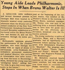 bernstein2New York Times the morning after Leonard Bernstein's Carnegie Hall debut.